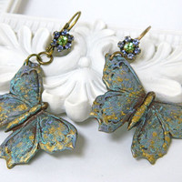 Colorful Butterfly Earrings Handcrafted Short Dangle Brass