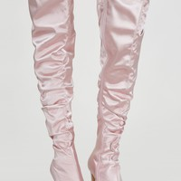 Spellbound Satin Thigh High Boots