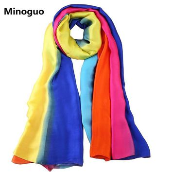 Minoguo 2018 New Design Silk Scarf Striped Rainbow Color Luxury Brand Women Bandana Shawl Scarf Travel Beach Sarong Pareo Scarf