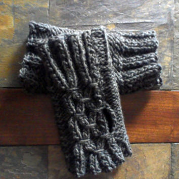 Hand knit Fingerless gloves -charcoal gray -wrist /arm warmers -smocking stitch/winter trends/ready to ship