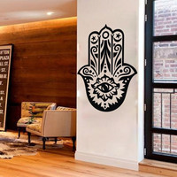 Large handmade Sticker Hamsa Hand Vinyl Decal - Hand of Fatima - Evil Eye Sticker - Namaste Decal = 1932866564