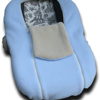 Baby Blue/Buff NUZZLER - Infant Car Seat Cover, Warm Polartec 200 - REVERSIBLE