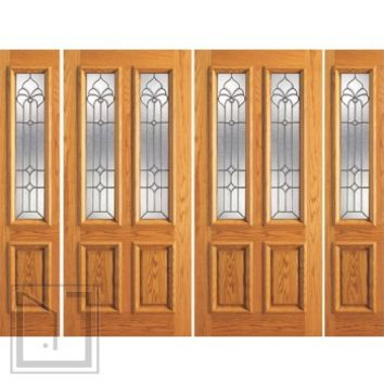 Prehung Mahogany Twin Lite Front Double Glass Door Two Sidelights