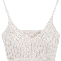 Beige Spaghetti Strap V-Neck Knitted Crop Top