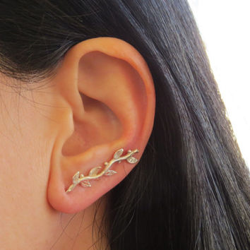Leaf ear cuff, Silver ear cuff earring, Ear pin
