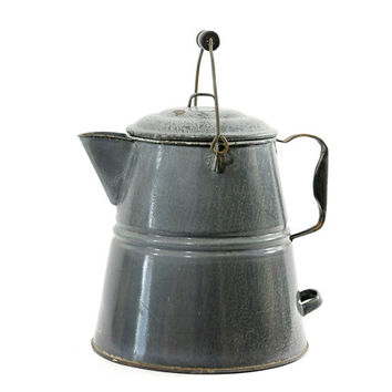 Vintage Graniteware Coffee Pot, Enamelware, Agateware,  Camp Coffee, Farmhouse Decor