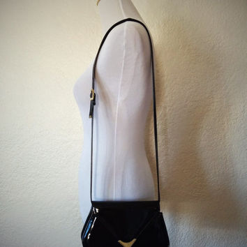 Vintage 90's Hexagon Shoulder Bag Black Patent Leather Crossbody Purse