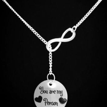Infinity You Are My Person Heart Love Sister Best Friend Gift Lariat Necklace