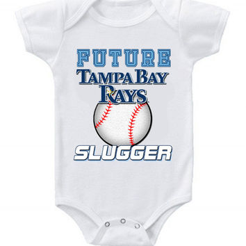 New Cute Funny Baby One Piece Bodysuit Baseball Future Slugger MLB Tampa Bay Rays