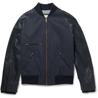 Billy Reid - Leather-Panelled Coated Linen and Cotton-Blend Bomber Jacket | MR PORTER