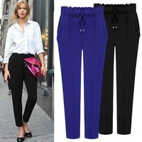 Summer New Style Sexy Women's Dress Solid Color Loose Ninth Pants Casual Pants Fashion Harem Pants
