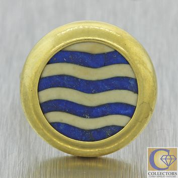 1920s Antique Art Deco 18k Yellow Gold Lapis Lazuli Wave Stone Cocktail Ring