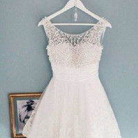 Round Neck White Short Lace Prom Dresses, White Short Lace Homecoming Dresses/Graduation Dress