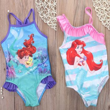 Girls Swimwear Mermaid Princess One Pieces Swimsuit Kids Ruffled Swimming Suit For Girl Children Bathing Suit