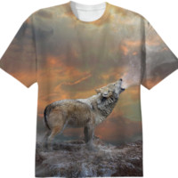 Climb Mountains Not So the World Can See (Wolf Dawn) Unisex T-Shirt II created by soaringanchordesigns | Print All Over Me