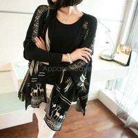 Fashion Women Printing Loose Cardigan Sweater Long Coat Knitwear = 1830083140