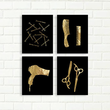 Bobby Pin Print, Printables, Instant Download, Gold Black, Bathroom Art, Vanity Wall Decor, Glam Bathroom, Hair Salon, Scissors, Comb
