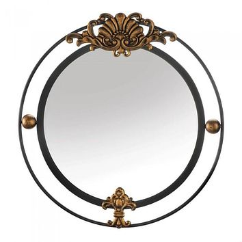 Regal Wall Mirror With Gold Accent