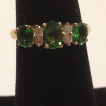 10K Dematoid Garnet Diamonds Ring Size  6 Yellow Gold 2.25 TCW Green Apple Wedding Engagement Cocktail Promise Band Vintage Jewelry Gift
