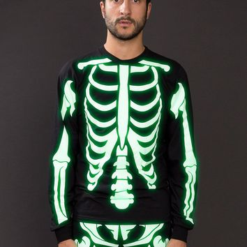 2007spsk - Glow Skeleton Screen Printed Fine Jersey Long Sleeve T-Shirt
