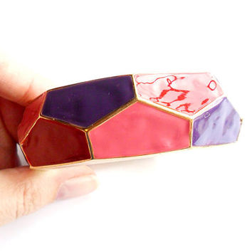 Vintage Geometric Clamper Bracelet Hinged Bangle Pink Red Purple Enamel Faceted Gold Tone 1980s Style 80s Fashion
