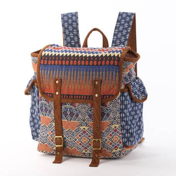 Wide Open Backpack, Diaper  Bag/ Boho chic Tribal Tapestry/ Casual Bag, Beach bag, Festival Bag