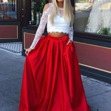 Evening Dresses Lace Two Piece Satin Long Prom Dresses