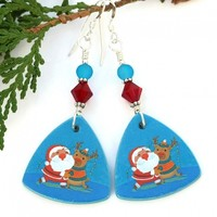 Santa and Rudolph Reindeer Christmas Earrings, Polymer Clay Crystals Handmade Holiday Jewelry