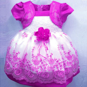Kids Girls Dresses Floral Chiffon Dress Costume Princess Party Dresses Size 1-4Y NW
