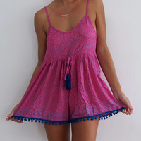 Hot Pink Pom Pom Jumpsuit / Playsuit, Short Beach Dress, Hot Pink & Cobalt Blue Mini Leaf Print Skort Shorts