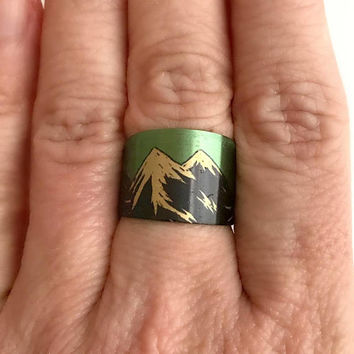 Snowy Mountain Cuff Ring, brass adjustable wide band mountains climbing skiing hiking modern rings birthday gifts gift for her woman