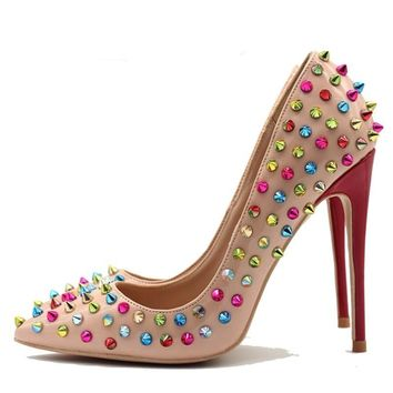 Raquel beige colorful rivet spikes pointed toe heels