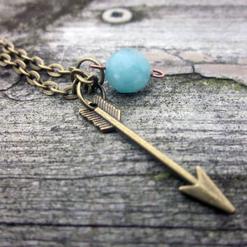Small Arrow Necklace, Tribal Necklace, Mint Necklace, Arrow Jewelry, Aztec, Minimalist, Hipster Jewelry,