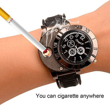 Ckeyin ® Sporty wristwatch Quartz Watches Collectable Butane Cigarette Cigar Lighter with USB Electronic Rechargeable Windproof Flameless Cigarette Lighter - Black