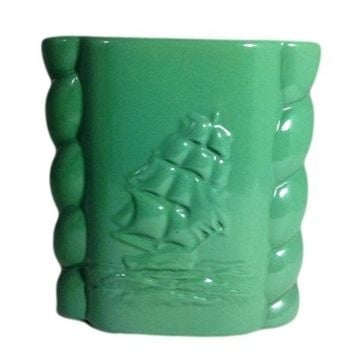 Vintage Abingdon USA Clipper Ship Pottery Green Vase Number 491