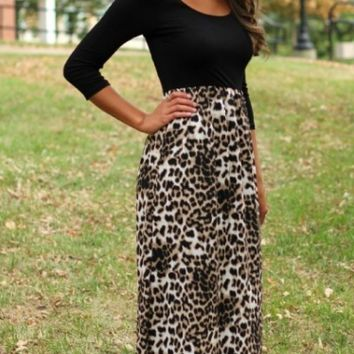 Black Leopard Print Long Sleeve Maxi Dress