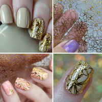 1 Sheet Embroidered 3D Nail Stickers Blooming Flower