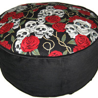 Skulls and Roses Pouffe Foot Rest Bean Bag