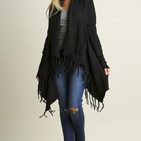 Black Fringe Long Cardigan Sweater (Pre-Order)