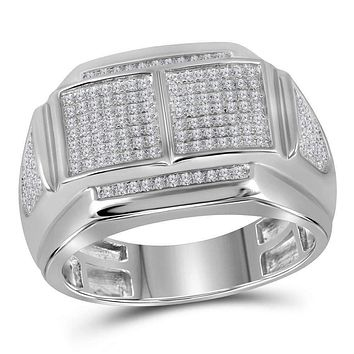 10kt White Gold Men's Round Diamond Double Square Cluster Ring 3/8 Cttw - FREE Shipping (US/CAN)