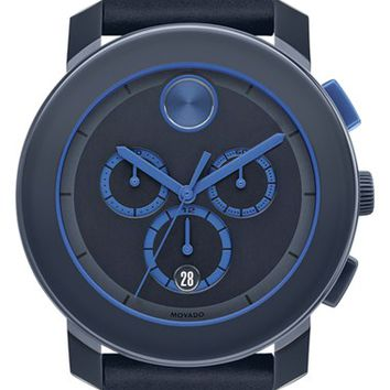 Movado 'Bold' Chronograph Leather Strap Watch, 44mm - Navy (Nordstrom Online Exclusive)