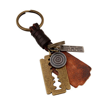 Functional Great Deal New Arrival Creative Hot Sale Trendy Gift Accessory Alloy Blade Leather Vintage Men Keychain [6058341569]