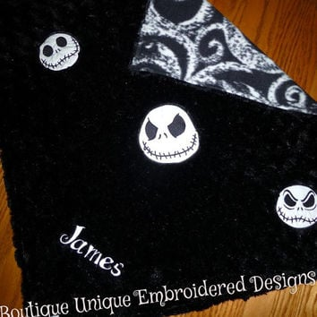 Jack SkeLLinGToN NiGHTMaRe Before ChRiSTmAS BABY BLANKeT MiNKY SWiRL EMBROiDERED PERSONALiZE iT +PiLLOW avail Designs by Sugarbear