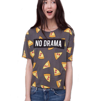 2016 New Pizza letters print T shirt Women cute Cake NO DRAMA tops short sleeve shirts casual