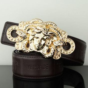 PEAPUF3 Versace Fashion Contracted Smooth Buckle Belt Leather Belt