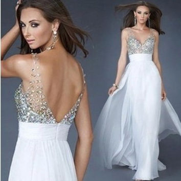 Hot Sale Stylish Mosaic V-neck Sexy Ball Gown Prom Dress One Piece Dress [4918233220]