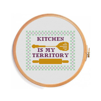 Funny cross stitch pattern Kitchen - Instant download PDF pattern - chart cross stitch pattern spatula rolling pin border