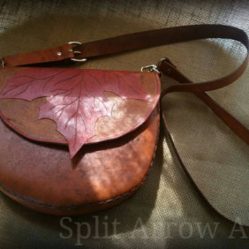 Carved Leather Maple Leaf Crossbody Bag, Purse, Messenger Bag