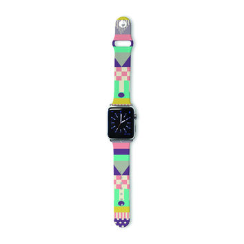 "Louise Machado ""Decorative Stripes"" Teal Pink Apple Watch Strap"