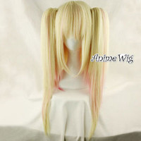Lolita Straight Blonde Mixed Pink Colors Women Anime Cosplay Wig With Ponytails